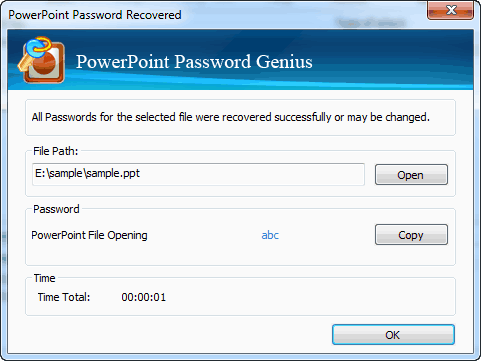 password recovered successfully