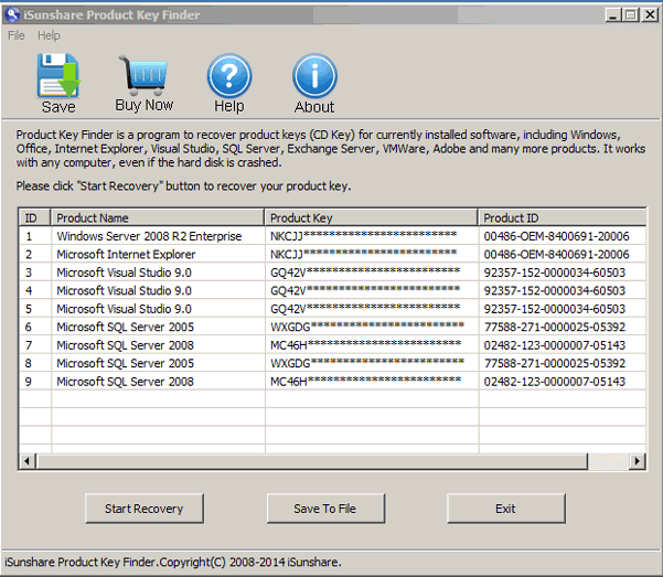 sql server 2008 product key location