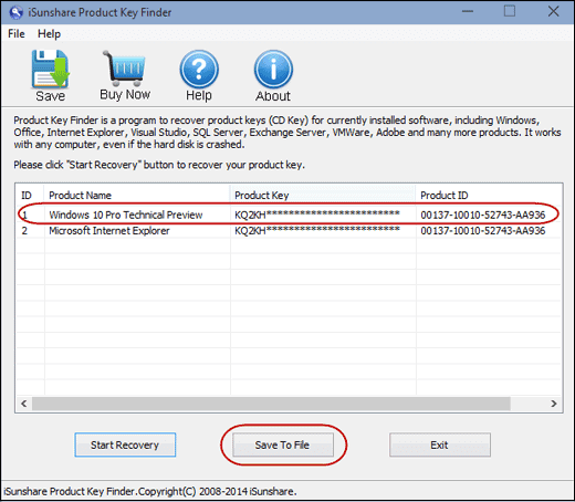 windows 10 find registration key