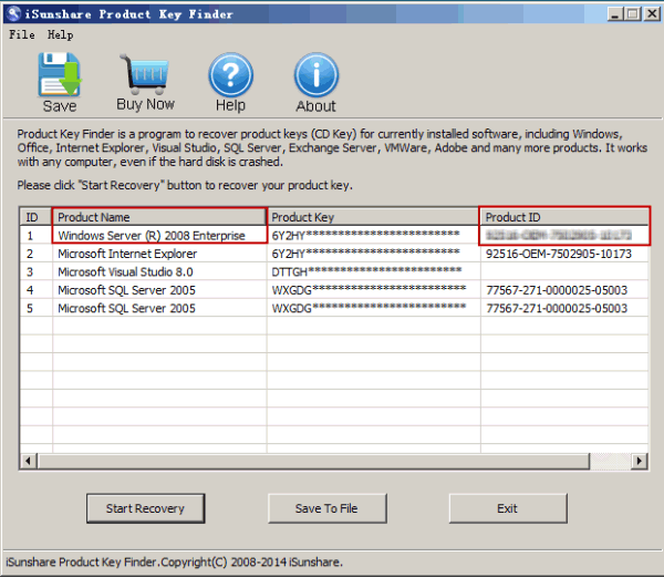 get Windows Server 2008(R2) PID automatically