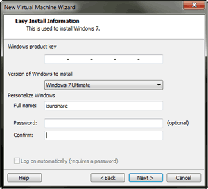 install Windows 7 Ultimate virtual machine with product key
