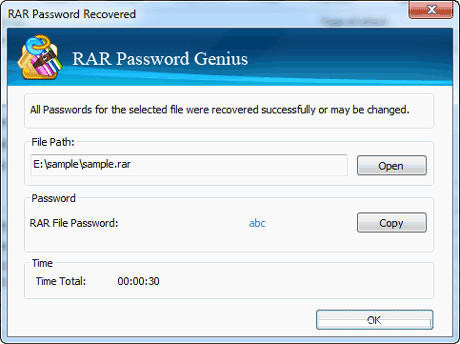 recover locked rar file password successfully