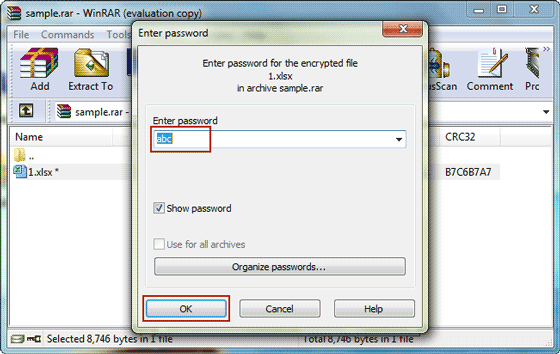 unlock password protected RAR file with recovered password