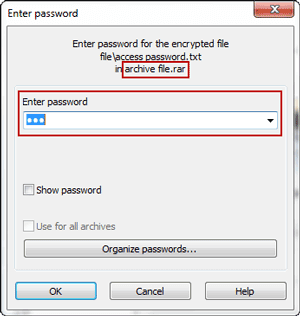 open password protected winrar file
