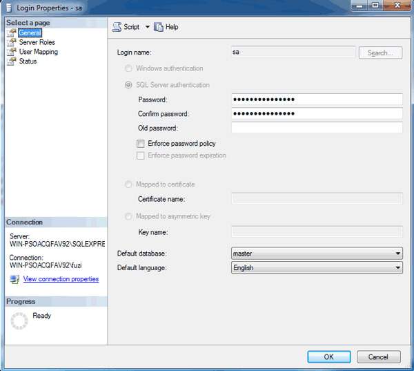 change SQL SA password in Windows Authentication mode