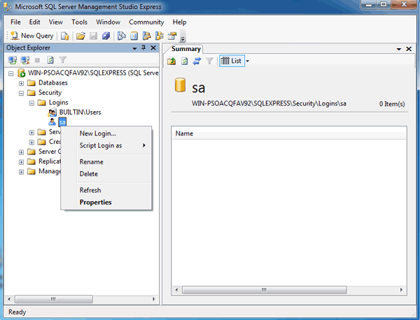 navigate to SQL Server SA account properties