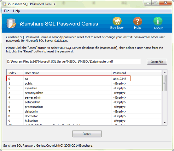 get SA new password to access SQL Server Database