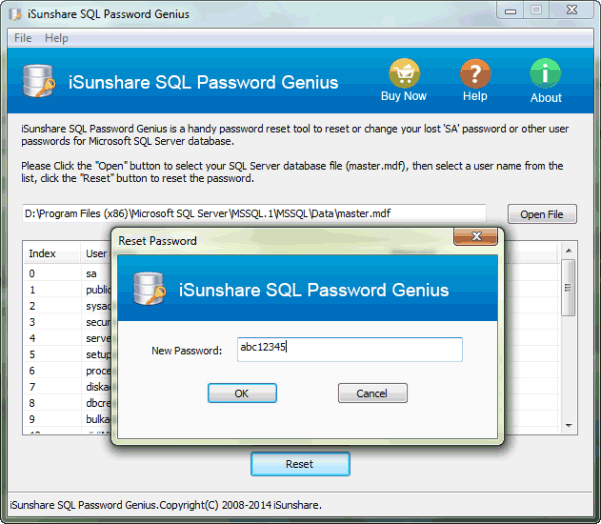 set a new password for SQL SA account
