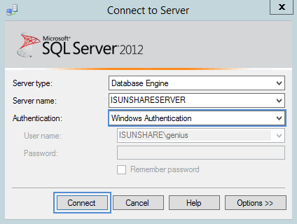 connect to SQL Server 2014 database in Windows Authentication mode