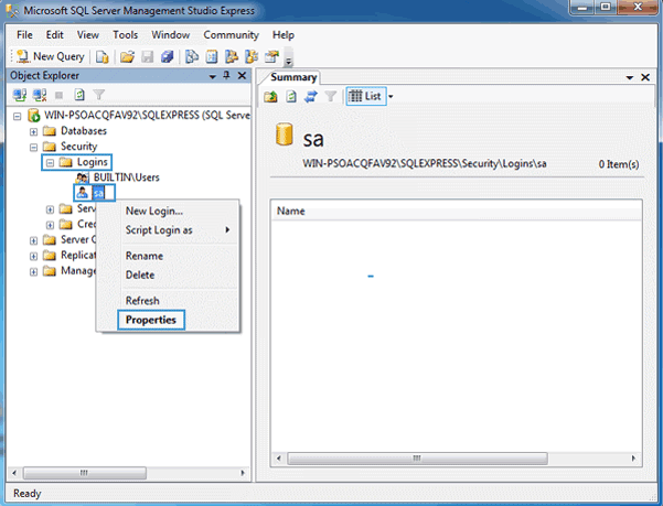navigate to SQL Server 2014 SA account properties