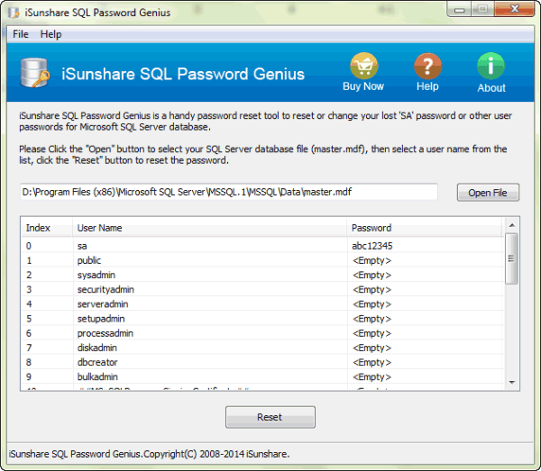 SQL Server user reset with new password successfully