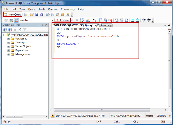 configure SQL Server remote access with transaction