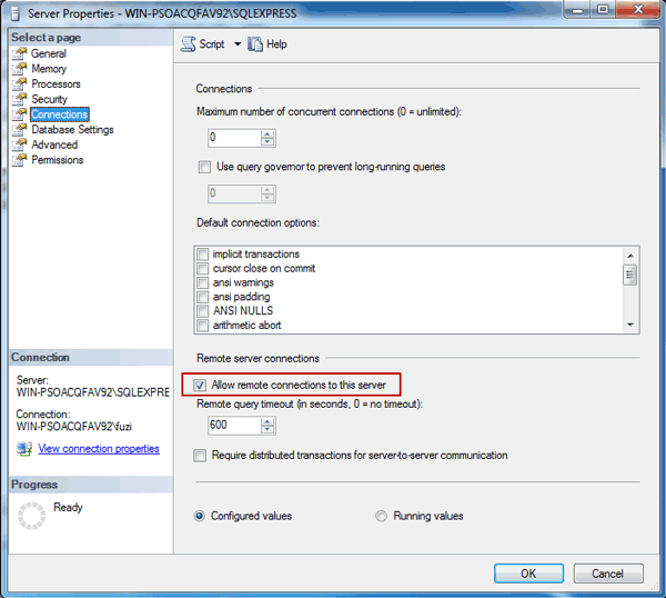 select remote server connections in SQL Server Management Studio
