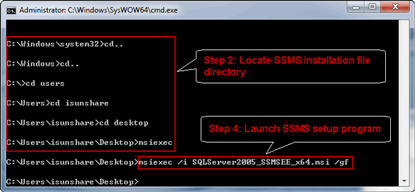 fix SSMS installation error with command run as administrator