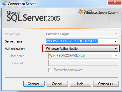 login SQl Server using Windows Authentication mode