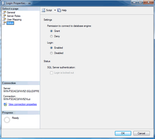 enable SQL Server SA account
