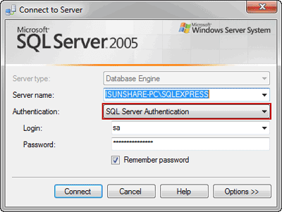 connect to SQL Server with SQL Server Authentication