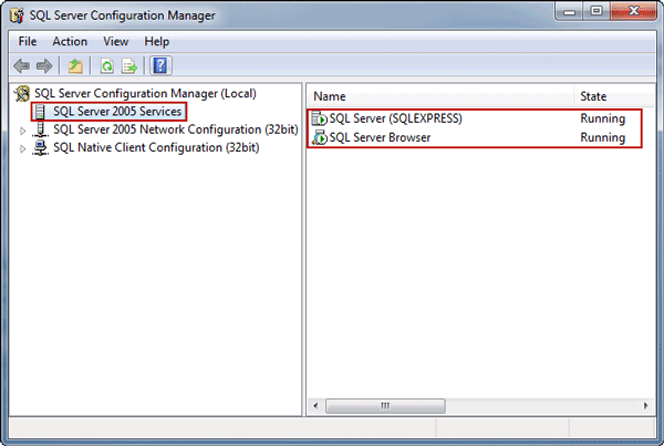 confirm SQL Server and SQL Server browser running