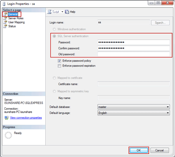 enable sa account for SQL Server logon