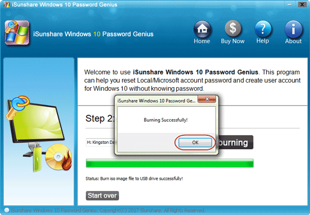 successfully burn password reset software into bootable device