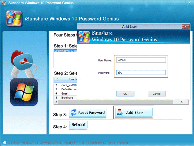 create new admin account with isunshare tool