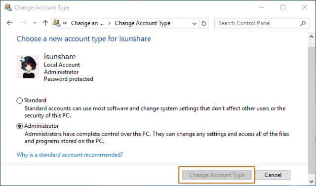 windows 10 change account type greyed out