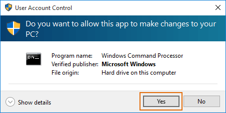 yes button greyed out in UAC dialog