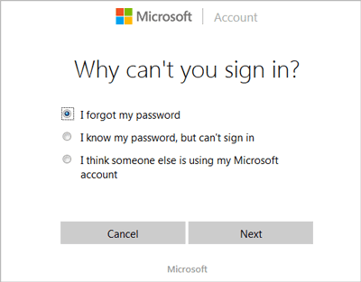 select reason to reset Microsoft account password