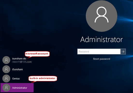 sign in windows 10 with built-in administrator