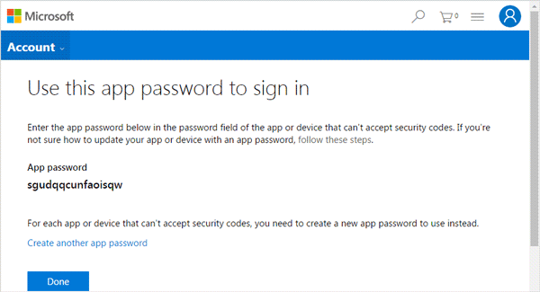 get in microsoft account with app password