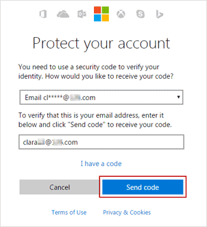receive security code with email address
