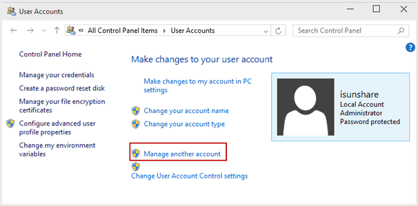 choose to manamge windows 10 user account