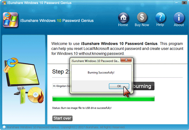 burn a password reset disk on another computer