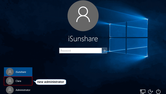login windows 10 with new administrator account