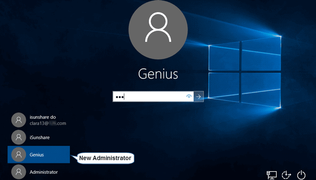 sign in windows 10 with new administrator account