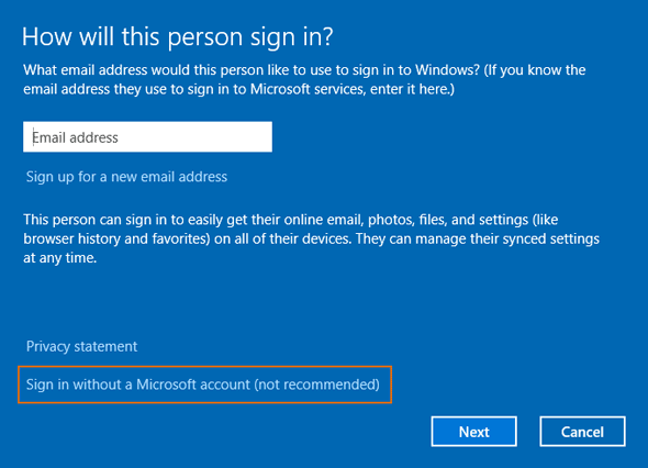 choose sign in without a microsoft account