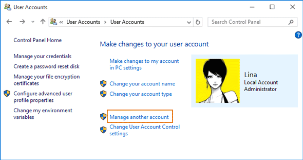 choose to manage another account