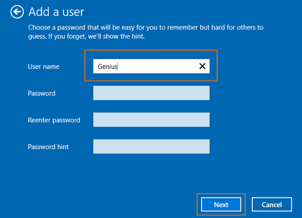 create a local account with or without password
