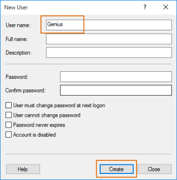 create new local user in computer management