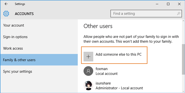 manage other users in pc settings