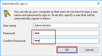 confirm automatic login user and password