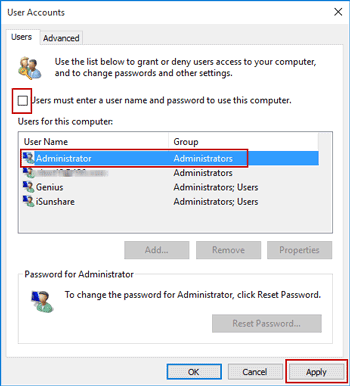 disable windows 10 password for startup