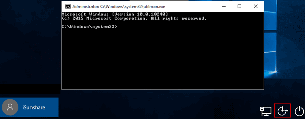 run command prompt on locked windows 10 login screen