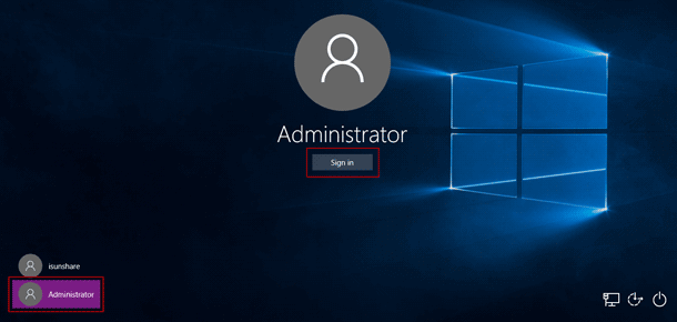 sign in dell xps laptop with built-in administrator