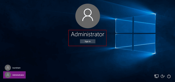 sign in windows 10 tablet with built-in administrator