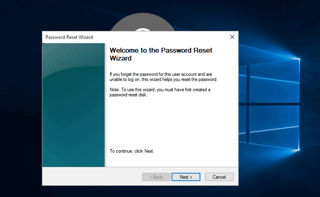 bypass windows 10 lost password with reset disk