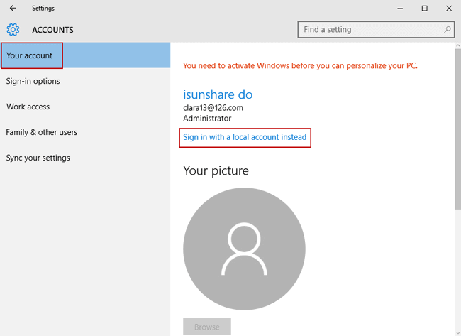choose to sign in windows 10 with local account