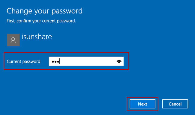 confirm current windows 10 local user password