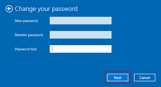 do not set new password for windows 10 user