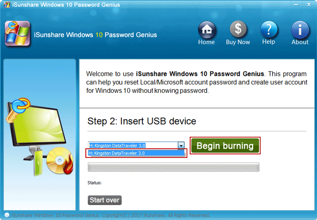 prepare to burn windows 10 password reset disk